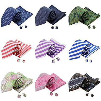 90fc43745b Amazon.com: 9 PCS Mens Tie Polyester Silk Tie Set with Pocket Suqare ...