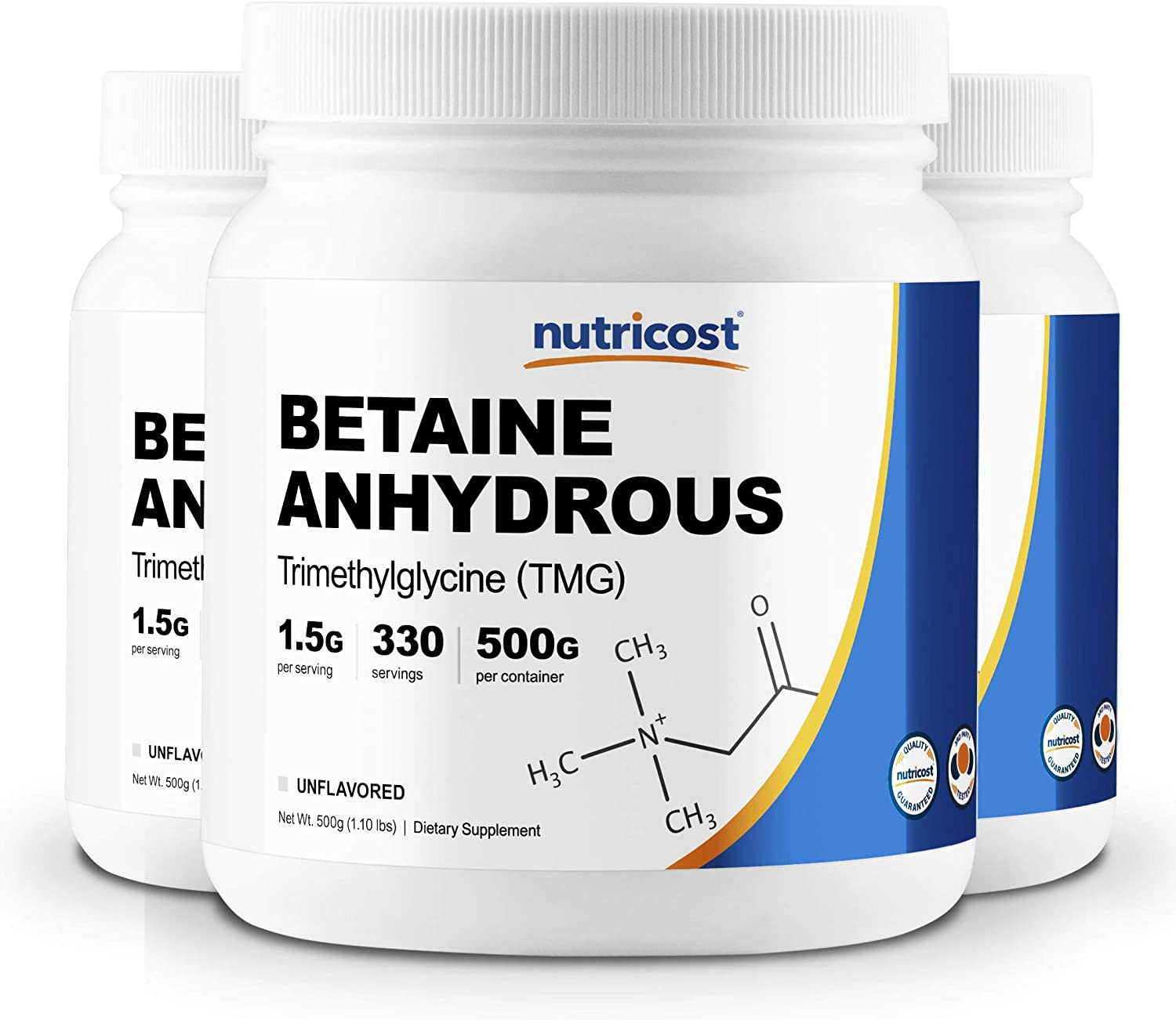 Nutricost Betaine Anhydrous Trimethylglycine TMG Powder 500G 3 Bottles