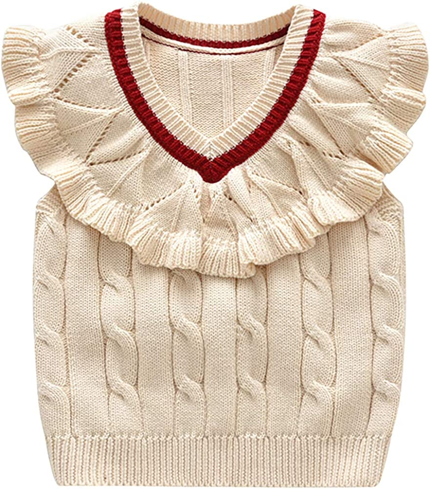 Amazon.com: Baby Toddler Girls Wollen Sleeveless Sweater Vest Knitted Lace  Design Pullover Costume: Clothing