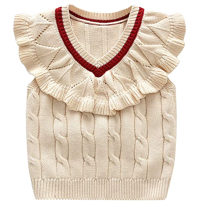 93d4244d5 Baby Toddler Girls Wollen Sleeveless Sweater Vest Knitted Lace Design  Pullover Costume Beige 100