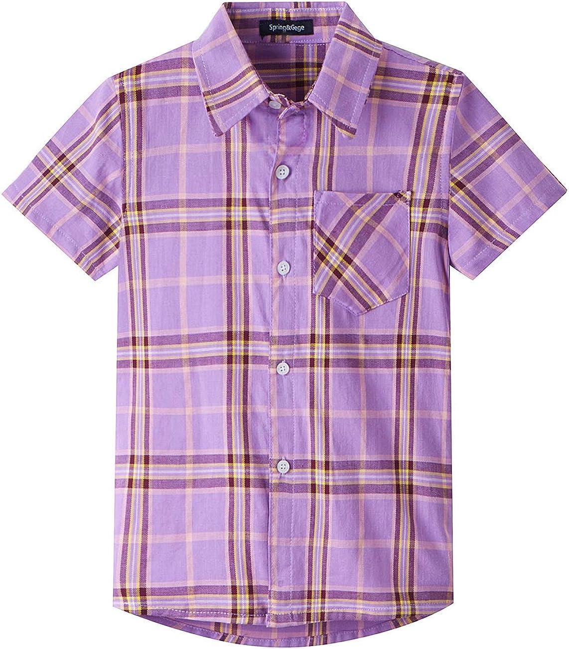 Spring&Gege Camisas de cuadros de manga corta para niños