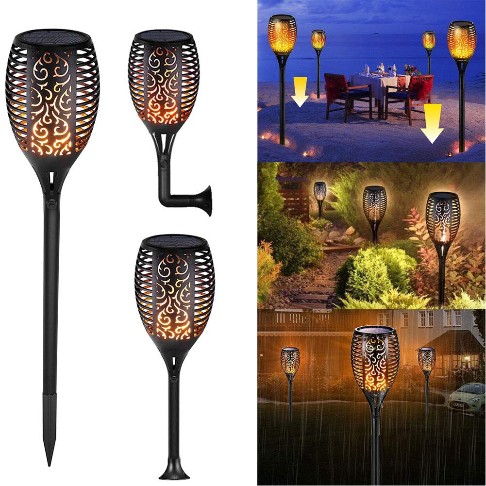 2pack Solar Torch Light Flickering Flames Torches Lights ...