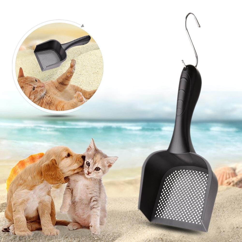 Pelle /à liti/ère chat pelle pour animaux de compagnie plastique solide facile /à nettoyer noir grande pelle /à liti/ère pour chat avec manche long pour pelle pour animaux de compagnie grande etc.