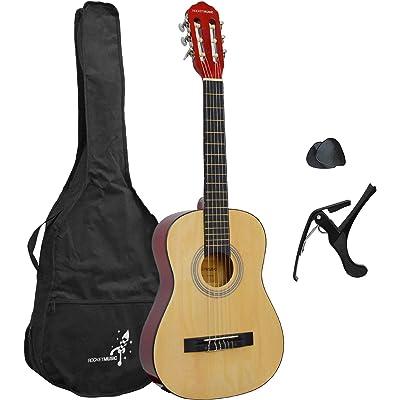 Rocket XF201EN XF Serie - Guitarra española clásica, color natural, tamaño 1/2