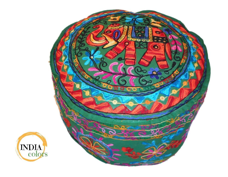 India colors Puff cojín Funda Bordado Artesanal Hecho a Mano en India. (Verde)