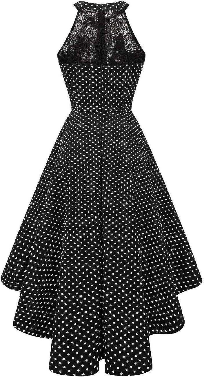 DRESSTELLS Vintage Vestito da Donna Cocktail Damigella dOnore Asimmetrico Halter
