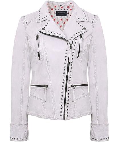 Oakwood Mujeres Washed Leather Camera Biker Jacket Blanco