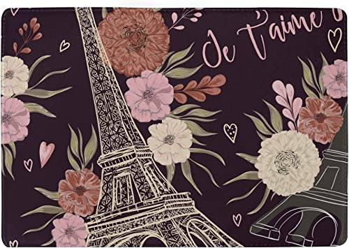 Pink Floral Pattern Art Fashion Leather Passport Holder Cover Case Travel Wallet 6.5 In