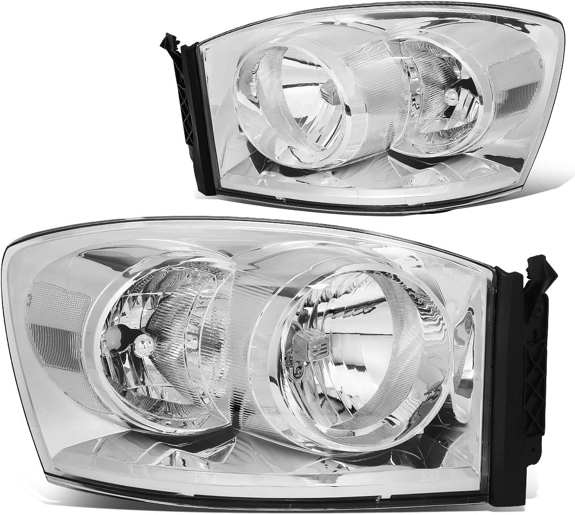 Pair Chrome Housing Clear Side Front Bumper Driving Headlight Lamps for 06-09 Dodge Ram Truck