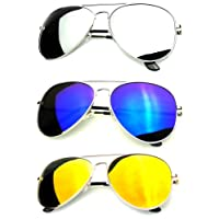 Younky Unisex Combo Of Uv Protected Aviator Stylish Mercury Sunglasses For Men Women Boys & Girls ( Gm-Sm-Bm|55|Silver ) - 3 Sunglass Case