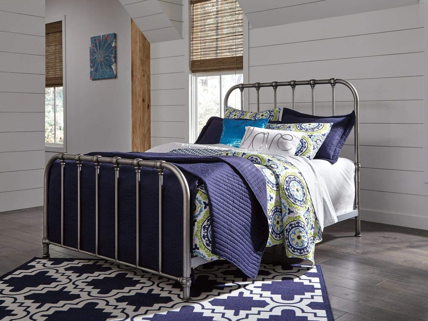 Ashley Furniture Signature Design – Nashburg Metal Bed – Complete Headboard and Footboard with Rails – Twin – Bronze Finish