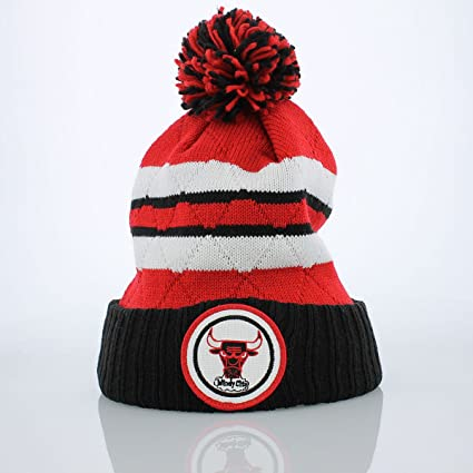 new product 38a15 2b101 NBA Mitchell   Ness Vintage Jersey Stripe Hi Five Knit Hat with Pom (One  Size