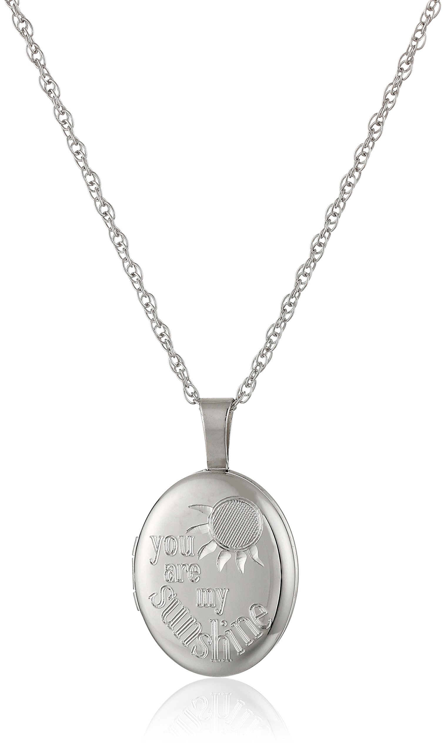 Ladies' Sterling Silver Oval Pendant with''You are My Sunshine'' Locket Necklace, 18''