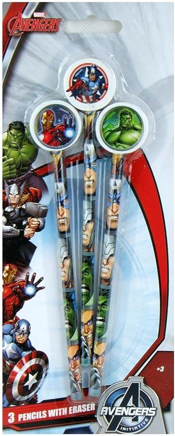 Official Genuine Marvel de Los Vengadores 3 lápices con gomas pack ...