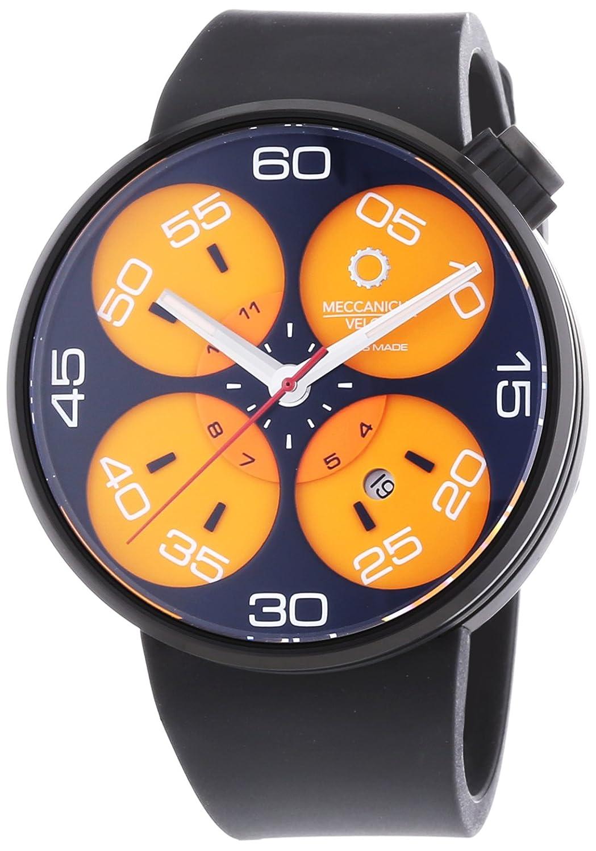 MECCANICHE VELOCI Quattro Valvole 3 Hand Automatische Armbanduhr fÜr Herren mit Orange Zifferblatt Analog-Anzeige
