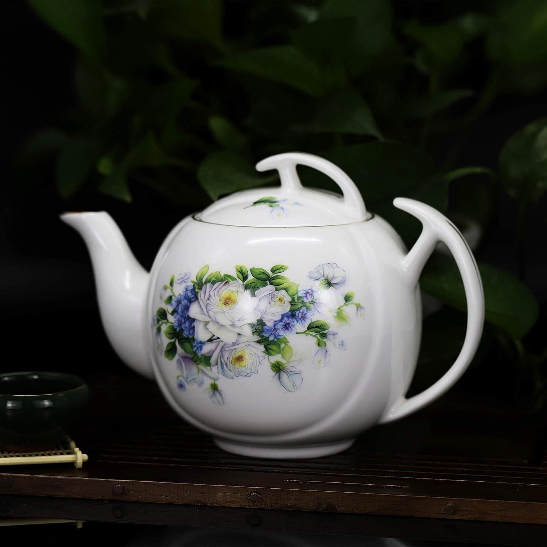 ufengke 39oz Lune Blanche Cafeti/ère en C/éramique,Th/éi/ère en Porcelaine Fleurs Bleues,Cafeti/ère Grande Capacit/é