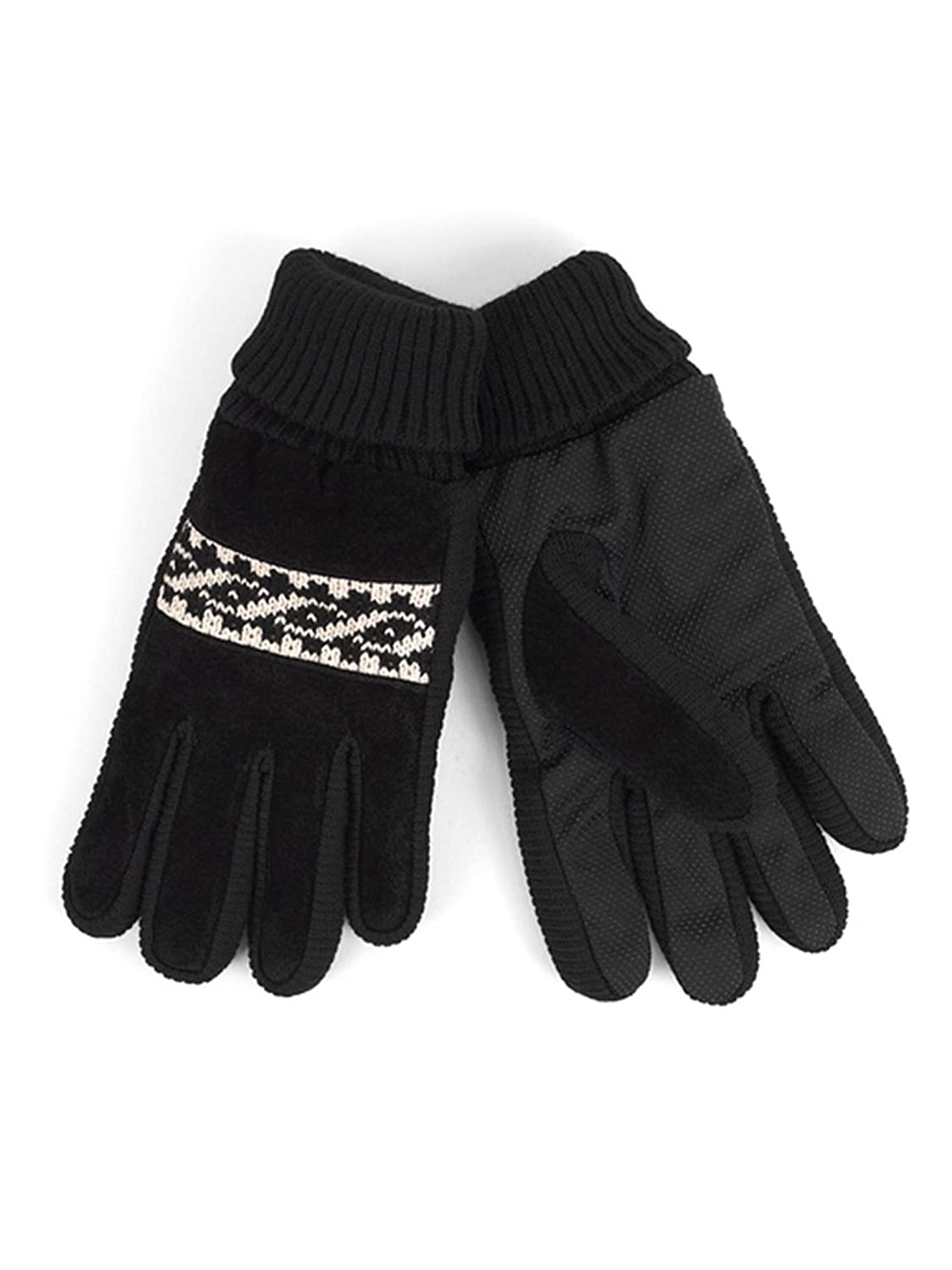 Mens Leather Non-Slip Grip Winter Gloves with Soft Acrylic Lining