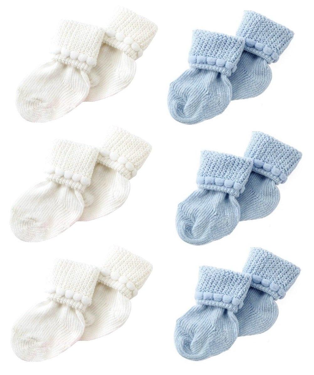 Newborn Baby Boy /& Girl Socks by Nurses Choice Includes 6 Pairs of Cotton Socks