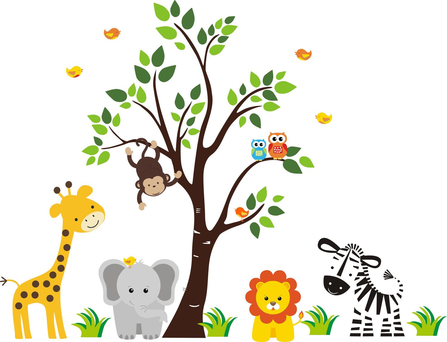 JUNGLE SAFARI ANIMALS Baby Shower Idea Birthday Party Edible Frosting Image 1/2 sheet Cake Topper by A Birthday Place (Image #1)