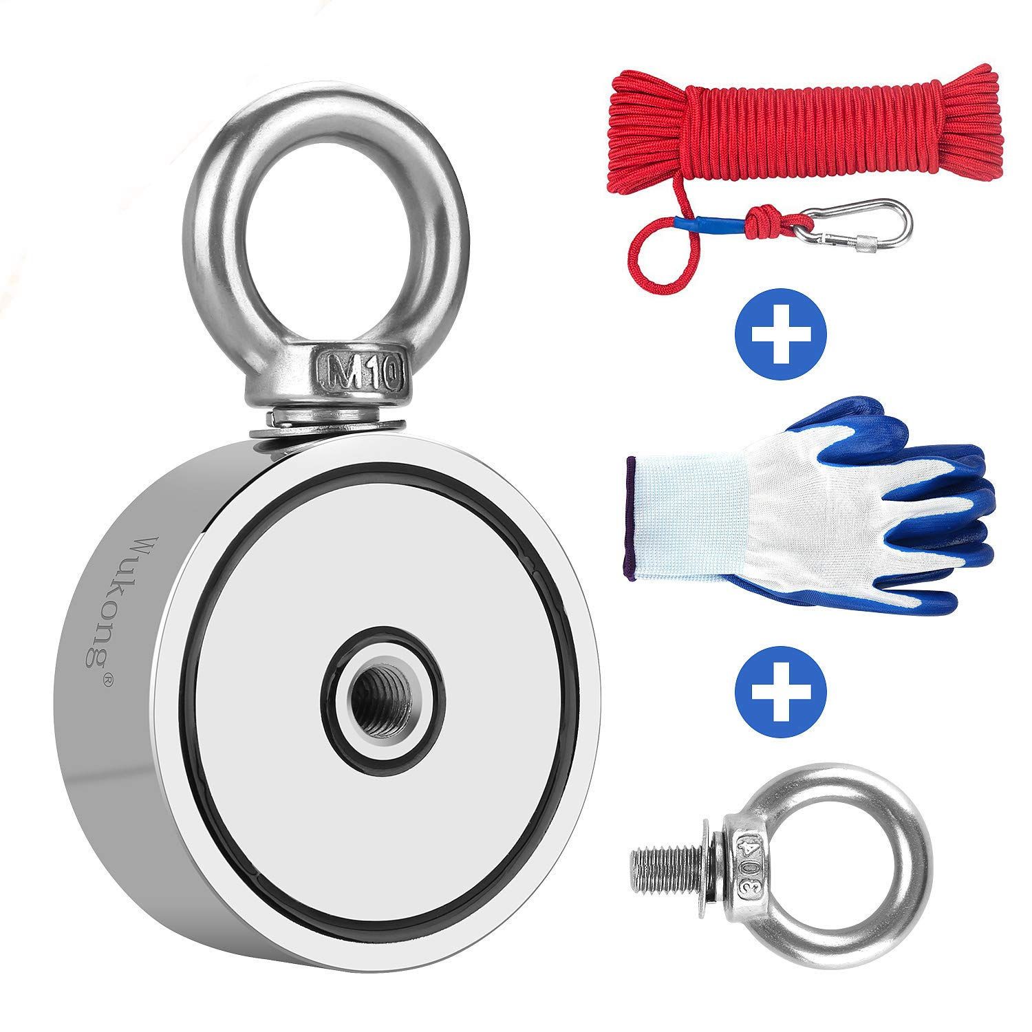 Fishing Magnet with 66ft Rope & Glove, Wukong 760LB Pulling Force Super Strong Neodymium Magnet with Heavy Duty Rope & Carabiner for Magnet Fishing and Retrieving in River - 67mm Diameter by WUKONG