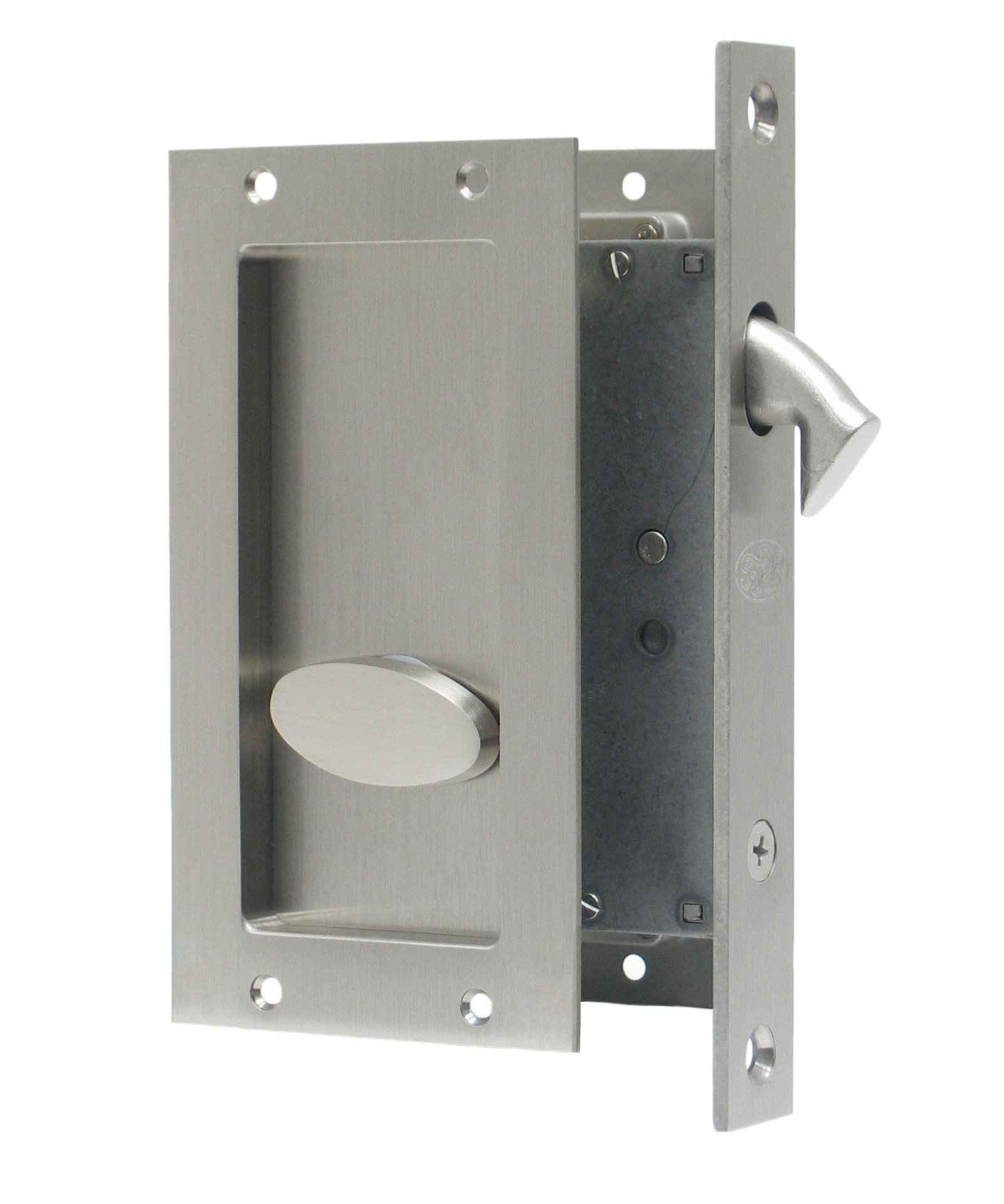 Anacapa by FPL- Solid Brass Modern Pocket Door Mortise Lock Set in Privacy - Bed / Bath Function - Satin Nickel