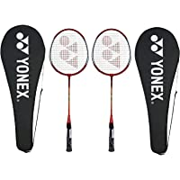 Yonex GR 303 Aluminum Blend Badminton Racquet with Full Cover, Set of 2 (Red)