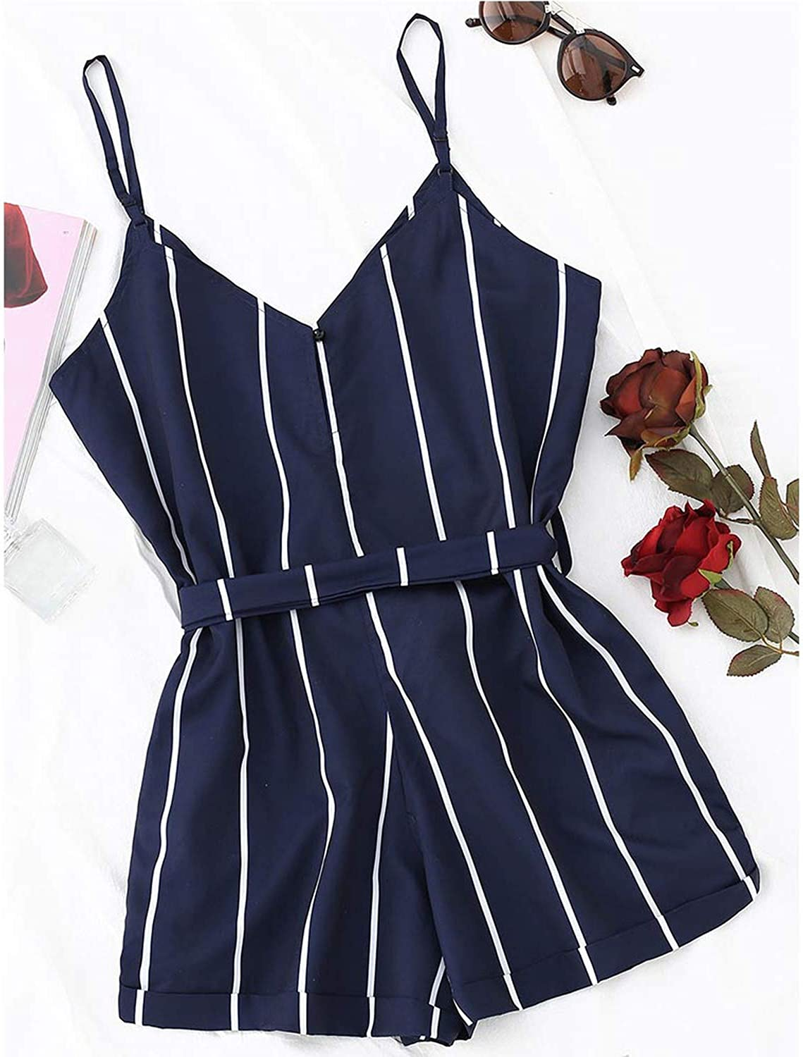 see something beach dresses Striped Belted Cami Romper Women Jumpsuit Casual Spaghetti Strap Buttons Beachwear