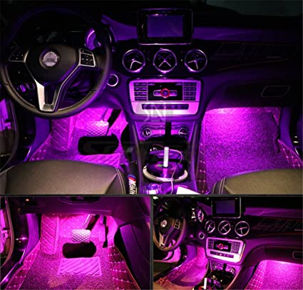 Attirant 4Pcs Car LED Interior Underdash Lighting Kit W/ Sticker   Led Car Interior  Light Auto