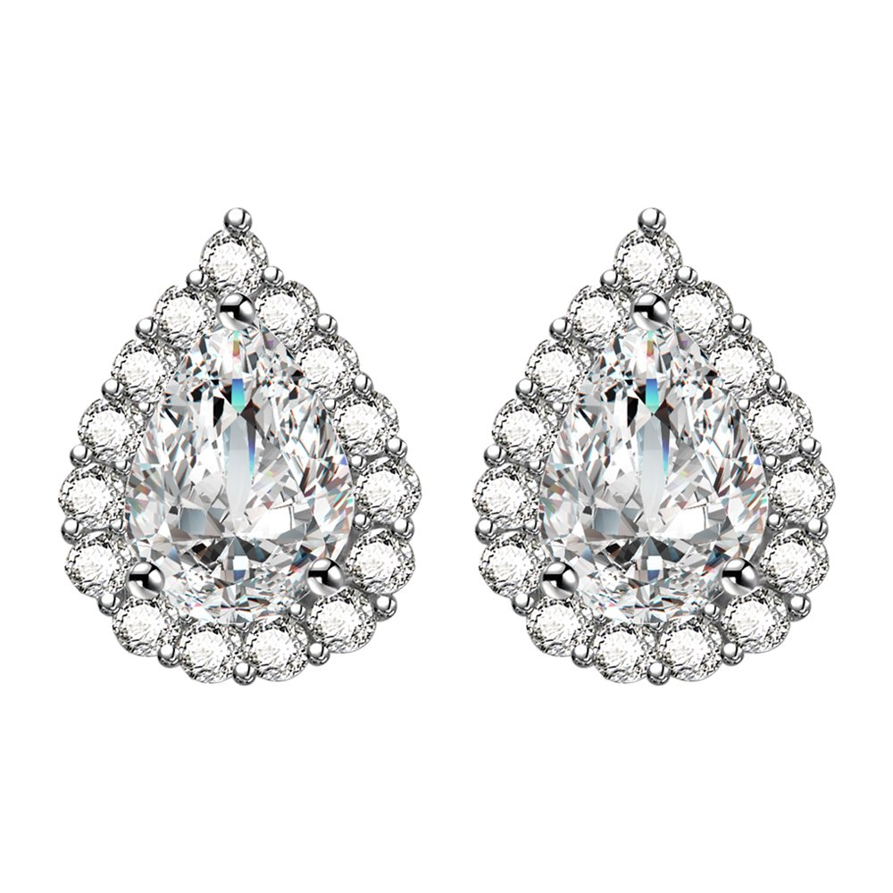 AoedeJ Teardrop Stud Earring 925 Sterling Silver Earrings CZ Wedding Bridal Earrings