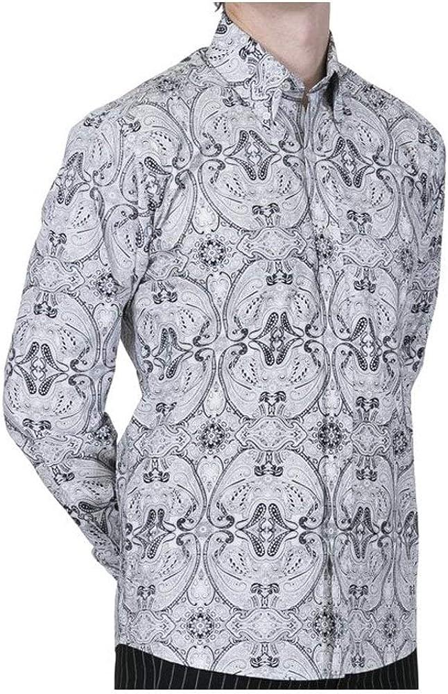 Relco - Camisa Casual - Paisley - con Botones - para Hombre Blanco Blanco y Negro XXX-Large: Amazon.es: Ropa y accesorios