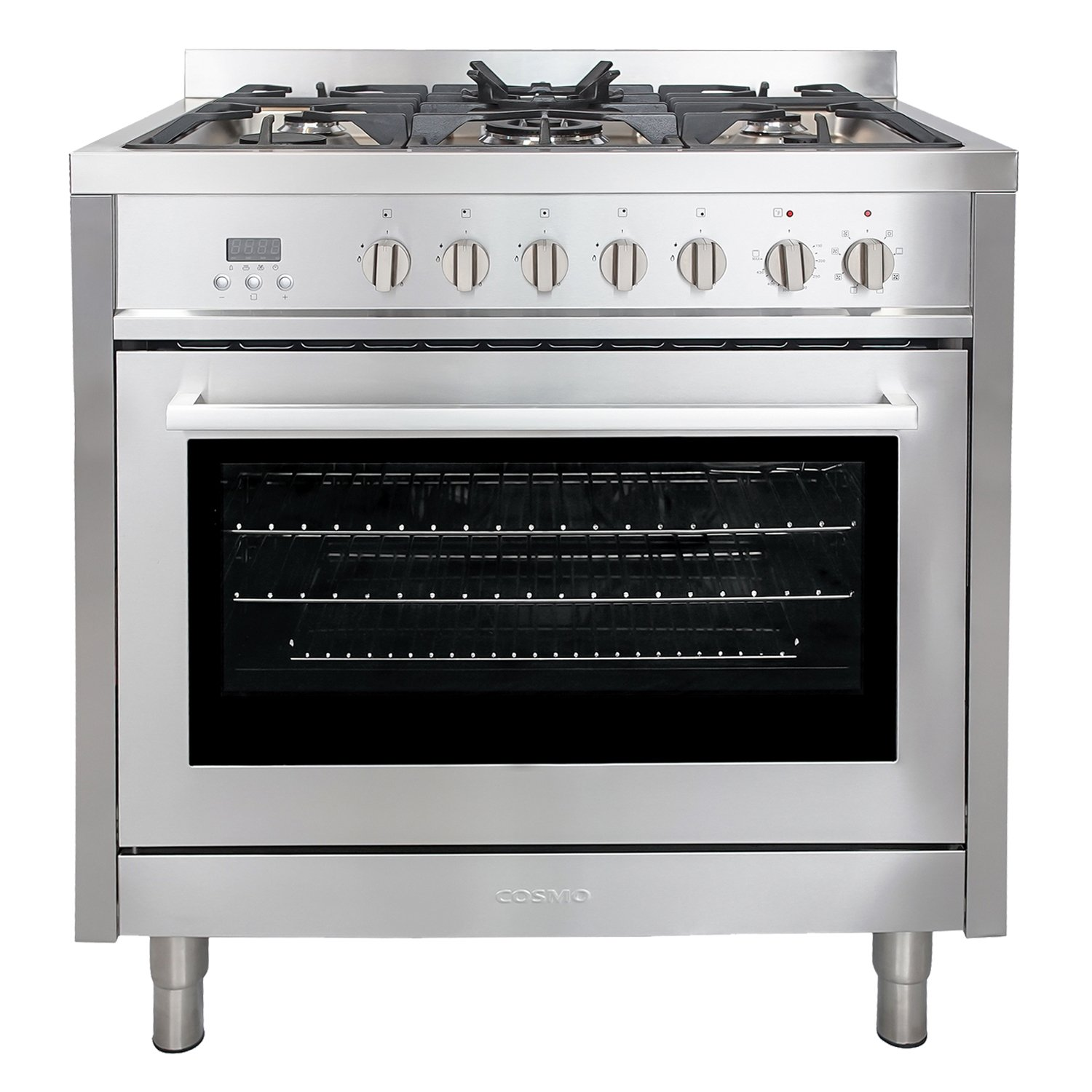 Cosmo F965 36-Inches Dual Fuel Gas Range with 3.8 cu. ft. Oven, 5 Burners, Convection Fan, Cast Iron Grates and Black Porcelain Oven Interior in Stainless Steel
