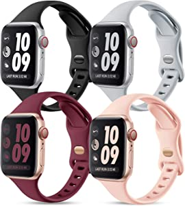 GEAK Compatible with Apple Watch Band 38mm 40mm Women, Slim Silicone Sport Wristband for iWatch 38mm Bands SE Series 1 2 3 4 5 6, 4Pack Mint Black/Gray/Sand Pink/Wine Red