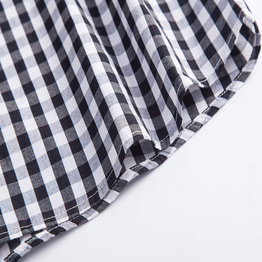 Summer Mens New Cotton Small Plaid Short Sleeve Casual Shirt Top Blouse