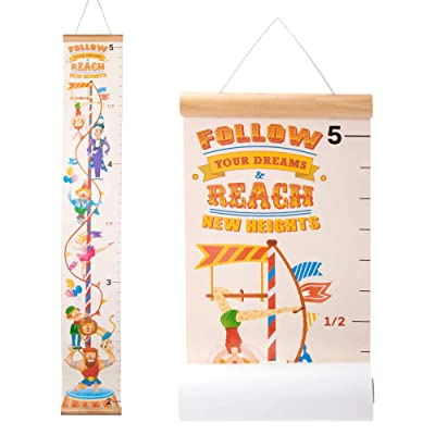Circus Growth Chart for Kids – Cute Height Measuring Wall Ruler for Circus, Carnival & Animal Themed Bedrooms, Nurseries, Parties, and Playrooms Décor & Keepsake – Easy-Removal Roll-Out Scroll: Baby