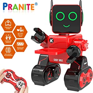 Robot Toy, Remote Control Robot Toy for Kids, Intelligent Programming RC Robot, Suitable for Kids Aged 3 and over to Sing, Dance, Talk, Transfer Items and Play with Kids as a Gift for Child (red)