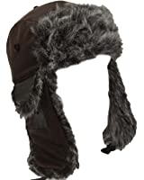 "Mens Womens Unisex Faux Fur & Leather ""Bert"" Warm Winter Trapper Hat in Brown with Chin Strap"