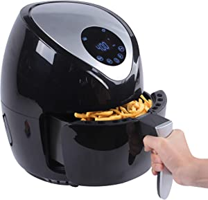 Shelline Air Fryer Electric Hot Oven 3.7 QT Oilless Cooker with LED Digital Screen & Temperature Control, Nonstick Basket Multifunctional Healthy Cooker, Recipes for Roasting Baking Grilling Frying