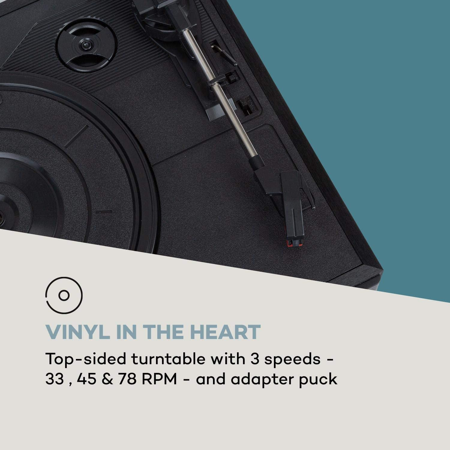 AUNA Connect Vinyl Smart Radio Turntable 40W Speakers SmartRadio Internet DAB DAB RPM Bluetooth Spotify Connect App Control TFT Colour Display Remote Black