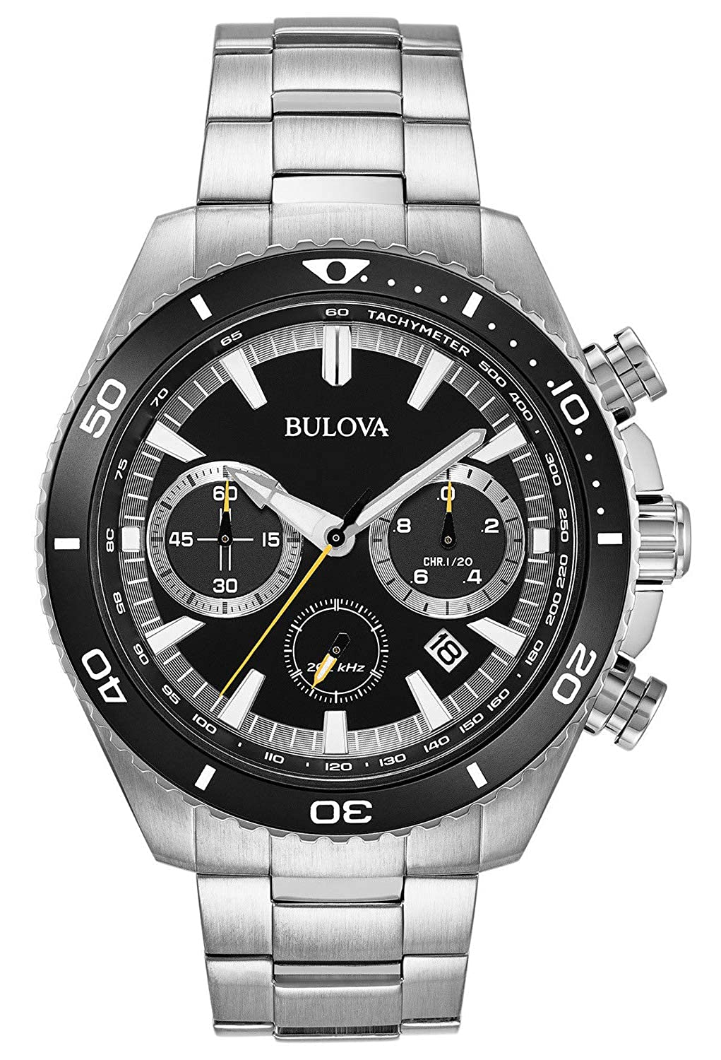 Amazon.com: Bulova High Frequency Quartz Chronograph Silver Tone Mens Watch 98B298: Watches