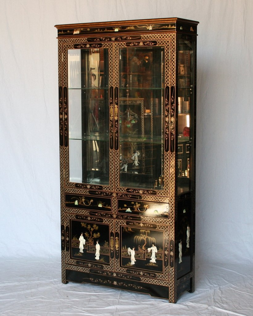 Black Lacquer Wooden Curio Cabinet Model J3056-BK Chinese Arts Inc