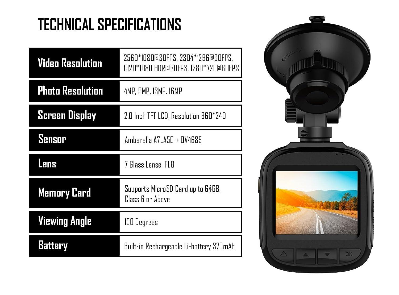 Free 32GB MicroSD Card Super HD Small Dash Cam Pro with Night Vision High Resolution 2K 1296P Compact Road Camera 2.0 Screen 16MP Photos INSIQ AW5 Car Dashcam 1080p Blackbox DVR Camera