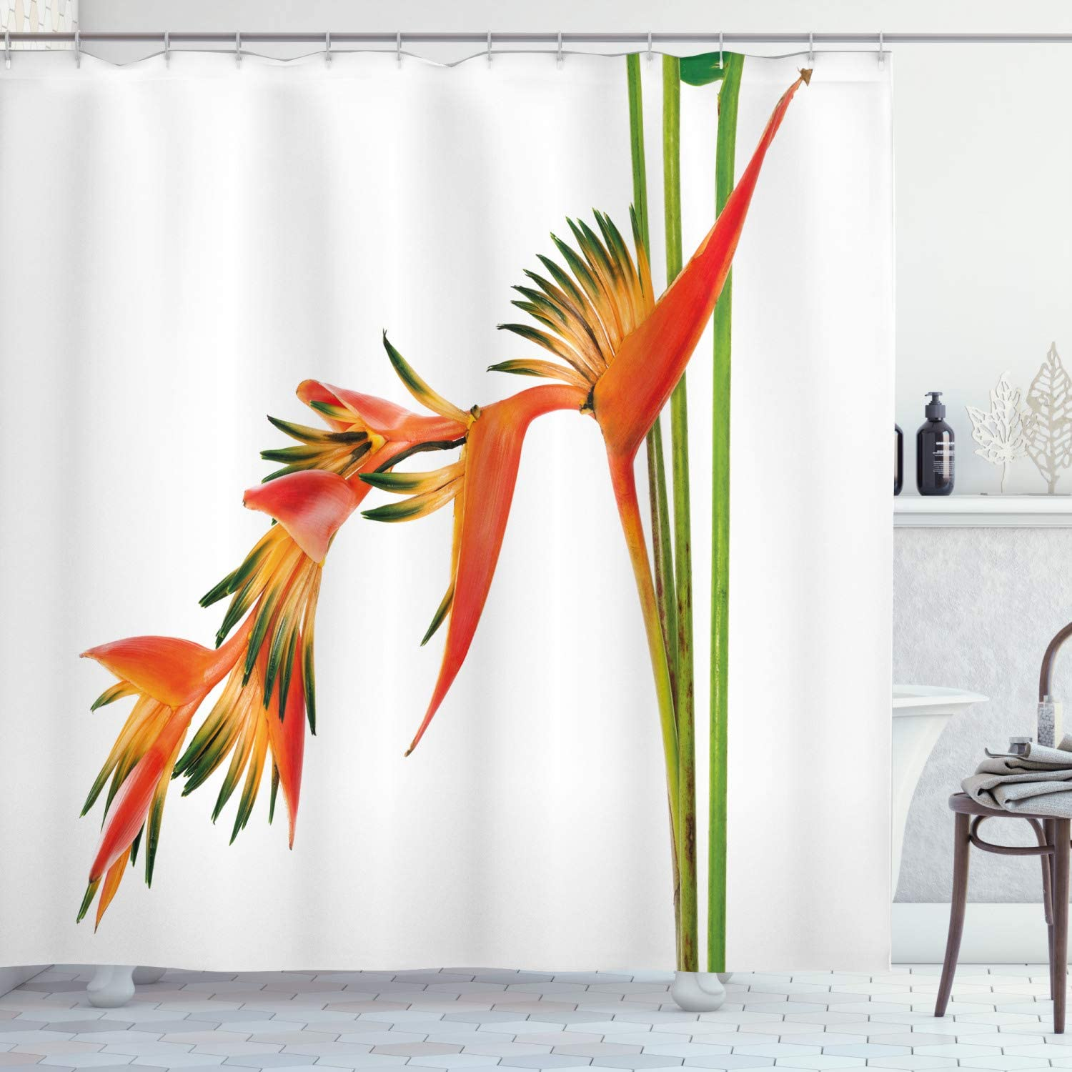 Ambesonne Floral Shower Curtain, Exotic Tropical Flowers on Branch Colorful Nature Jungle Garden Theme Image Print, Cloth Fabric Bathroom Decor Set with Hooks, 70