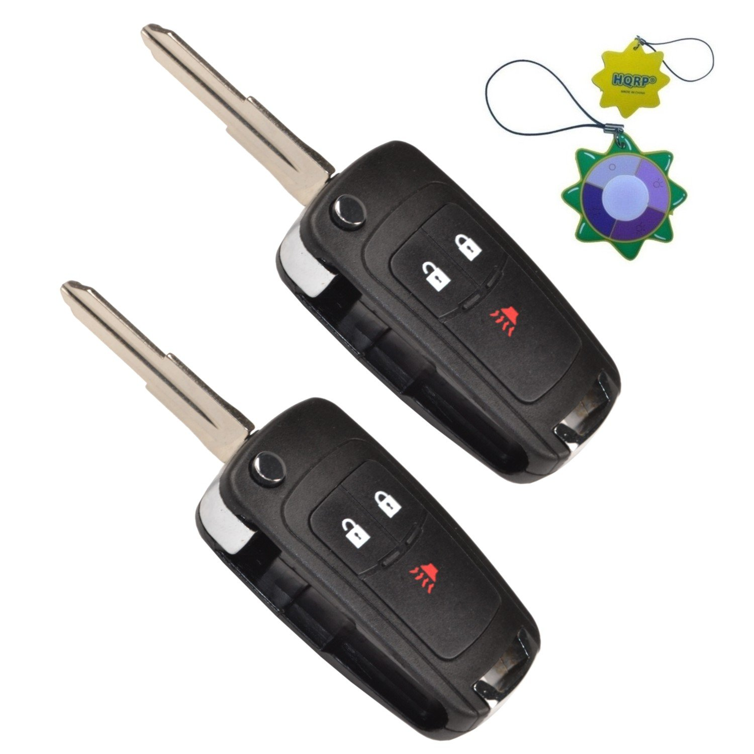 HQRP 2-Pack Remote Flip Folding Key Fob Shell Case Keyless Entry w/ 3 Buttons for Chevrolet Spark 2012 2013 2014 2015 2016 plus HQRP UV Meter