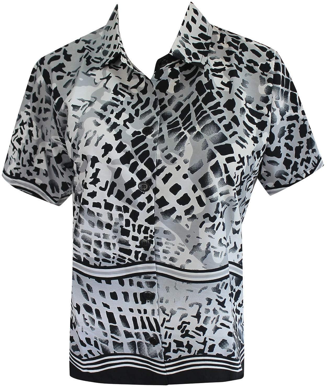 LA LEELA Women Plus Size Outwear Regular Fit Hawaiian Shirts for Women Printed A
