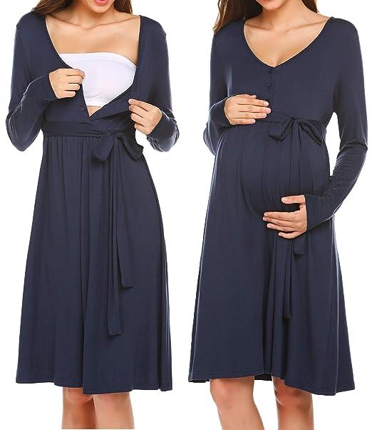 Women/'s Maternity Nursing Nightdress For Breastfeeding Nightgown Sleepwear Dress