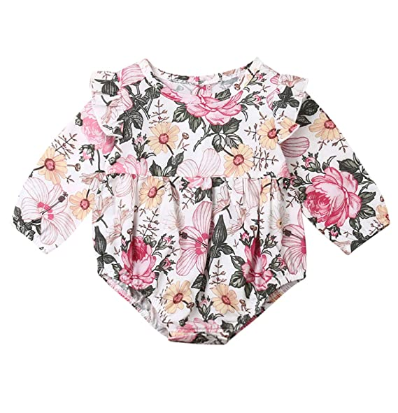Toddler Newborn Baby Girls Long Sleeves Floral Print Jumpsuit Romper Clothes CL
