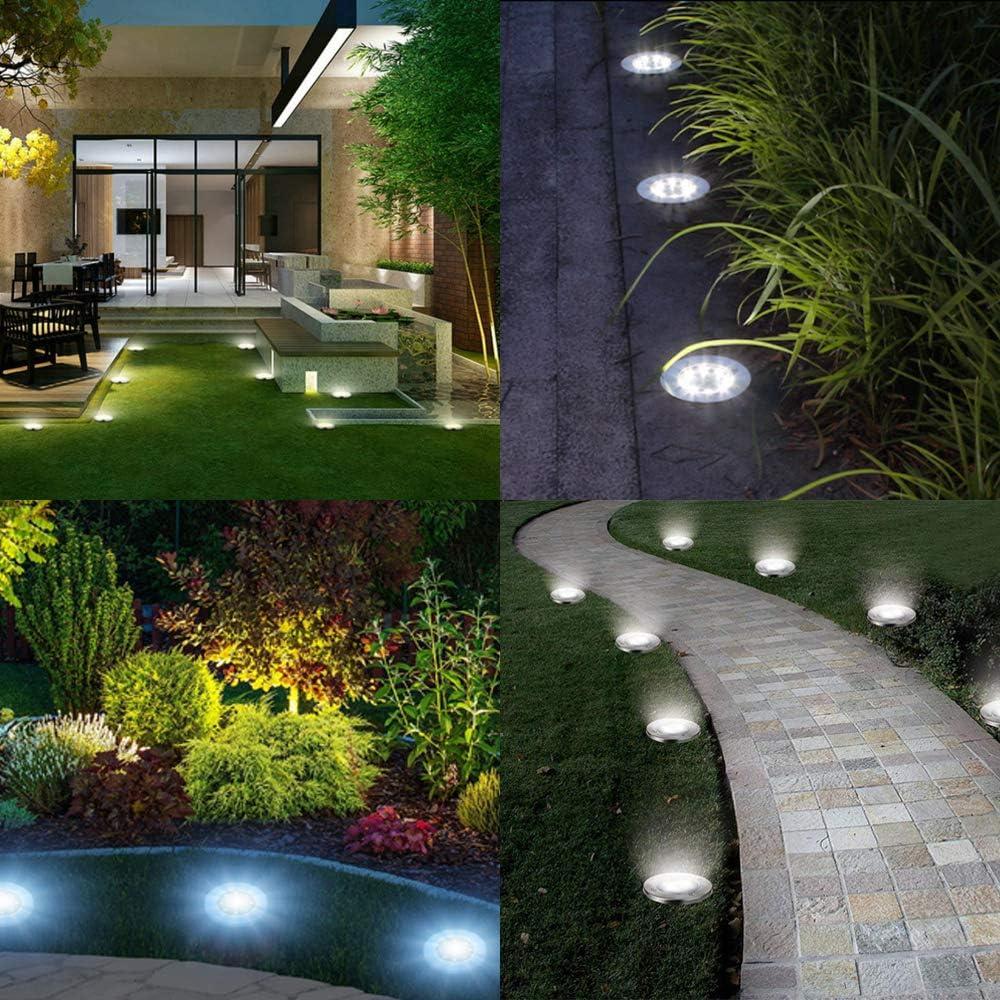 BOZHZO Luces Solares LED Exterior Jardin, Luces Solar de Tierra Luz para suelo Lámparas solares para jardín al aire libre con 8LED 8pcs Lámpara Solar Luz Exterior(Blanco): Amazon.es: Bricolaje y herramientas