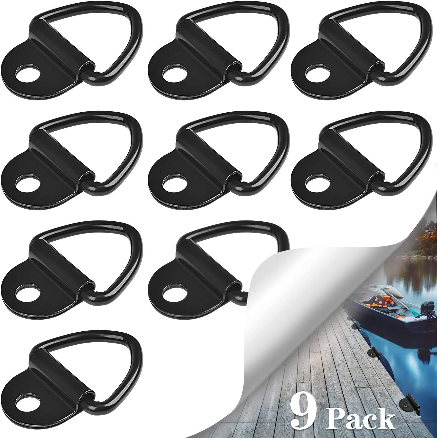 SANTOO 9 PCS Argollas de Amarre, V-Rings Gancho Pernos de Anillo en D Máximo 400kg para Remolques, Camiones, Barcos y Almacenes