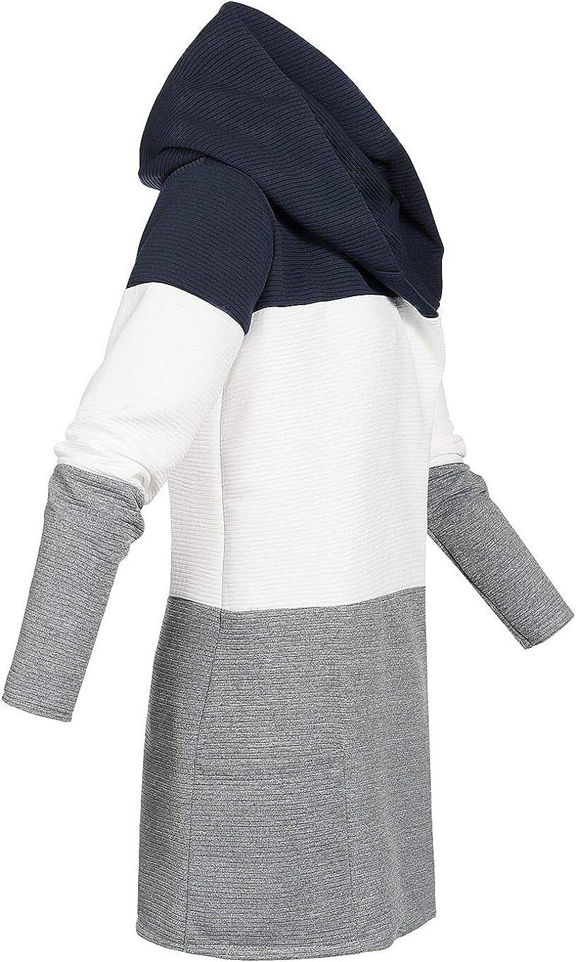 Styleboom Fashion/® Damen Weste Colorblock Jacke Cardigan 2-Pockets offener Schnitt Navy blau Weiss grau