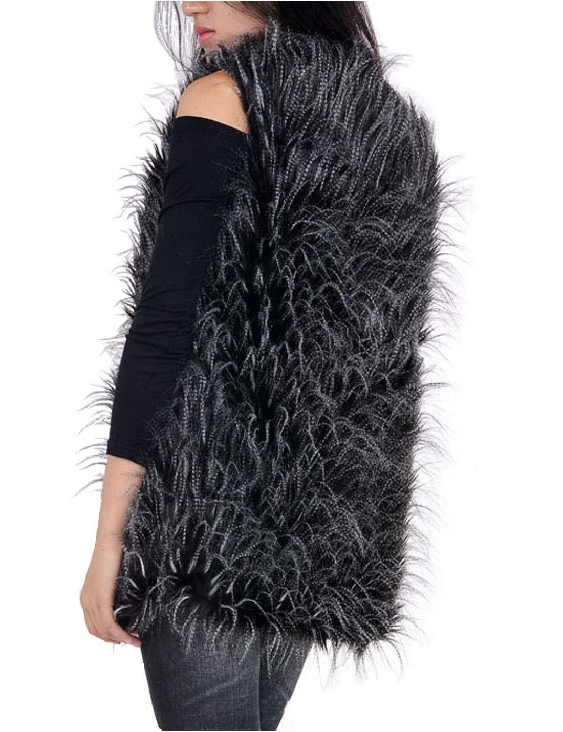 Flygo Women's Fashion Autumn Winter Warm Faux Fur Vests Sleeveless Jacket Waistcoat (XX-Large, Black Peacock Feather)
